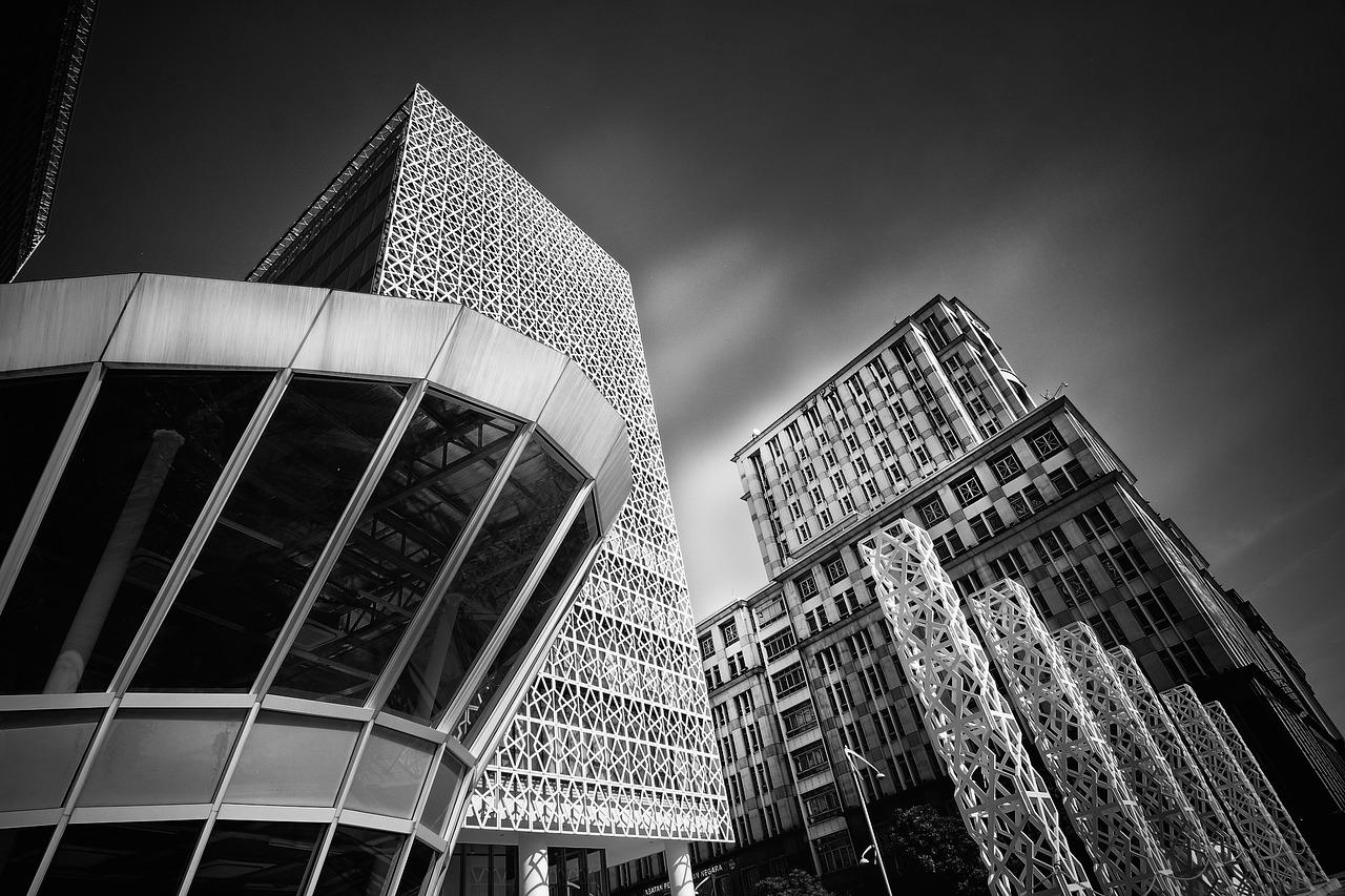 kuala lumpur, city, black and white